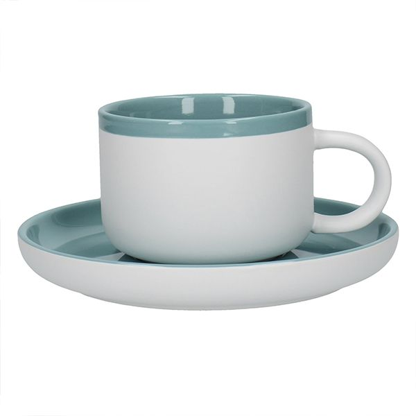 La Cafetiere Barcelona 290ml Tea Cup & Saucer Retro Blue
