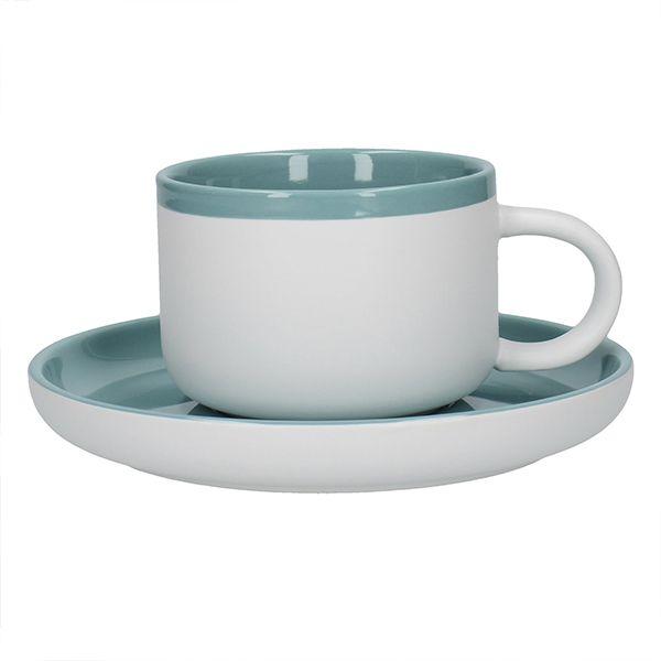 La Cafetiere Barcelona 290ml Tea Cup & Saucer Retro Blue