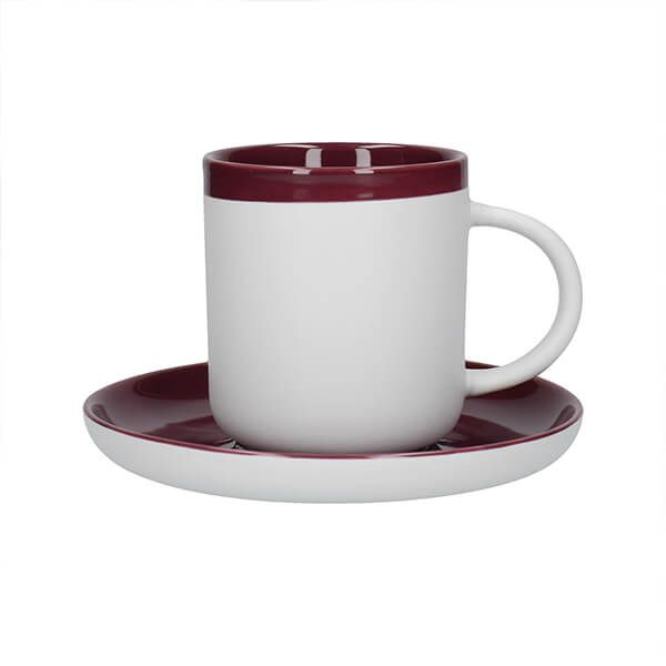 La Cafetiere Barcelona 300ml Coffee Cup & Saucer Plum