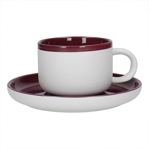 La Cafetiere Barcelona 290ml Tea Cup & Saucer Plum