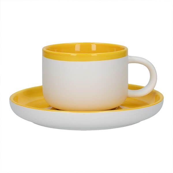 La Cafetiere Barcelona 290ml Tea Cup & Saucer Mustard