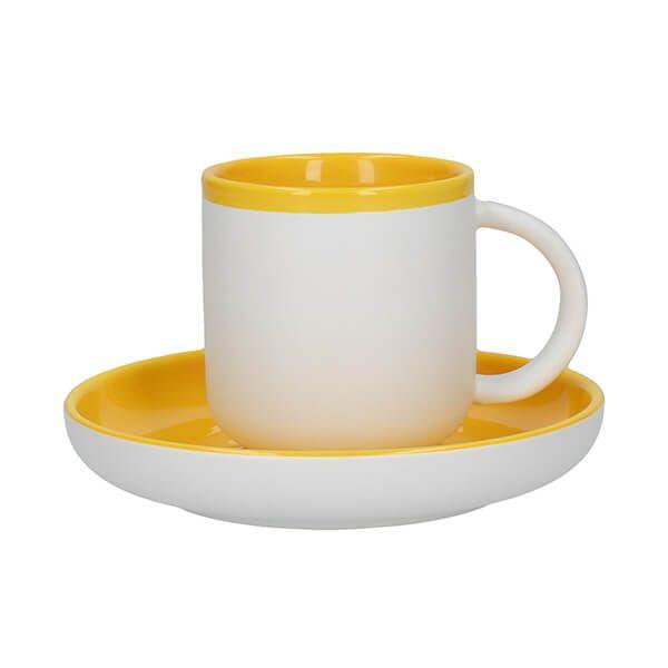 La Cafetiere Barcelona 130ml Espresso Cup & Saucer Mustard