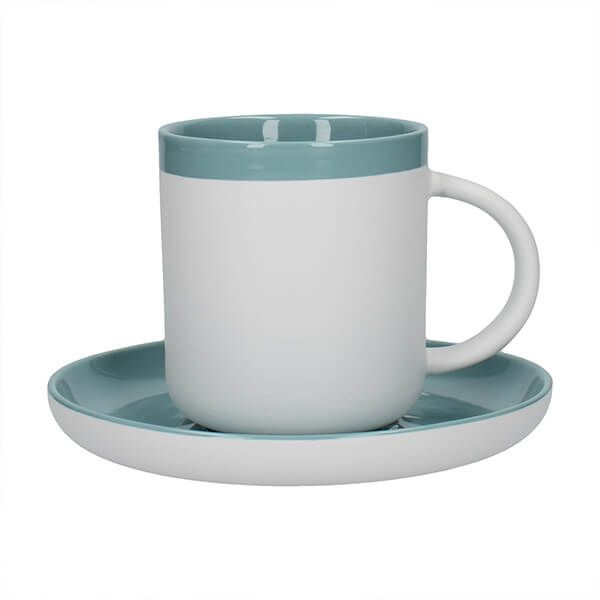 La Cafetiere Barcelona 300ml Coffee Cup & Saucer Retro Blue