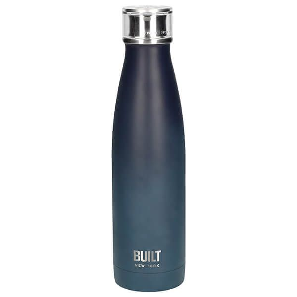 Built 500ml Double Walled Stainless Steel Water Bottle Black & Blue Ombre