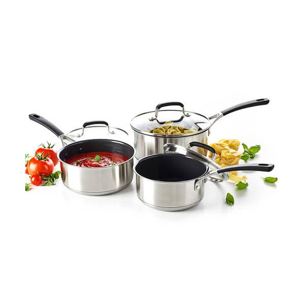 GreenPan Minneapolis Stainless Steel Ceramic Non-Stick 3 Piece Saucepan Set
