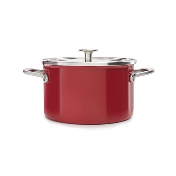 KitchenAid Steel Core Enamel Empire Red Casserole 20cm with Lid
