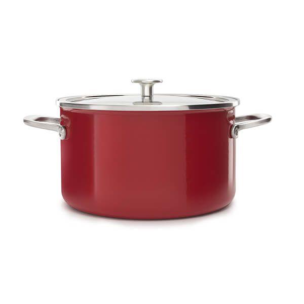 KitchenAid Steel Core Enamel Empire Red Casserole 24cm with Lid