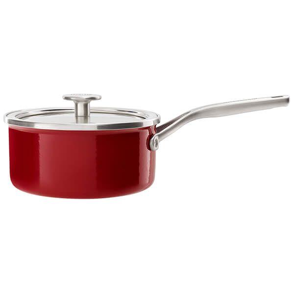 KitchenAid Steel Core Enamel Empire Red 20cm Saucepan with Lid