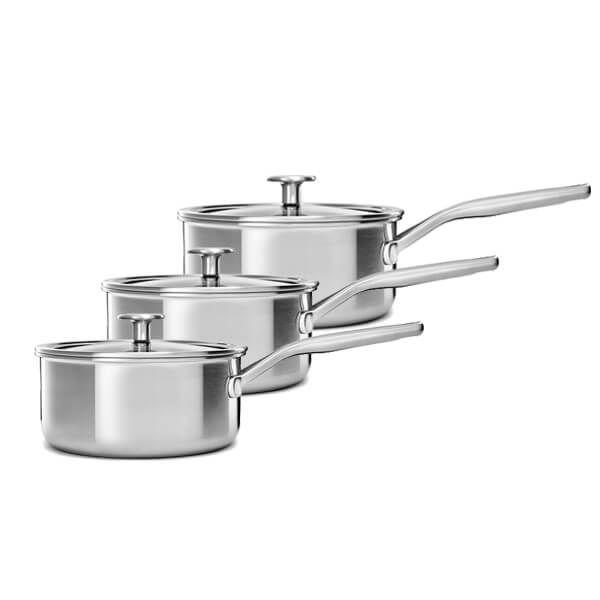 KitchenAid MultiPly Stainless Steel 3ply 3 Piece Saucepan Set 16/18/20cm