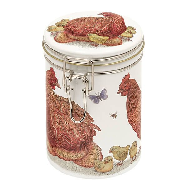 Vanessa Lubach Chickens Clip Lid Storage Tin