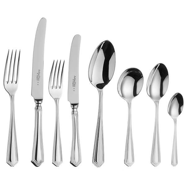 Arthur Price of England Sovereign Silver Plate Chester 44 Piece Cutlery Box Set