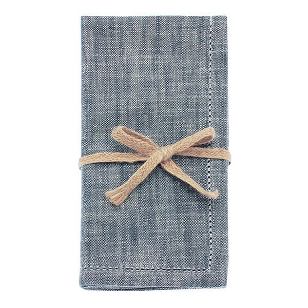 Walton & Co Flint Blue Chambray Set Of 4 Napkins