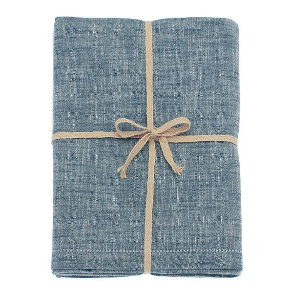 Walton & Co Flint Blue Chambray Tablecloth 130x180cm