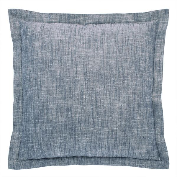 Walton & Co Flint Blue Chambray Wide Flange Cushion