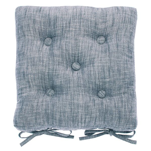 Walton & Co Flint Blue Chambray Seat Pad with Ties