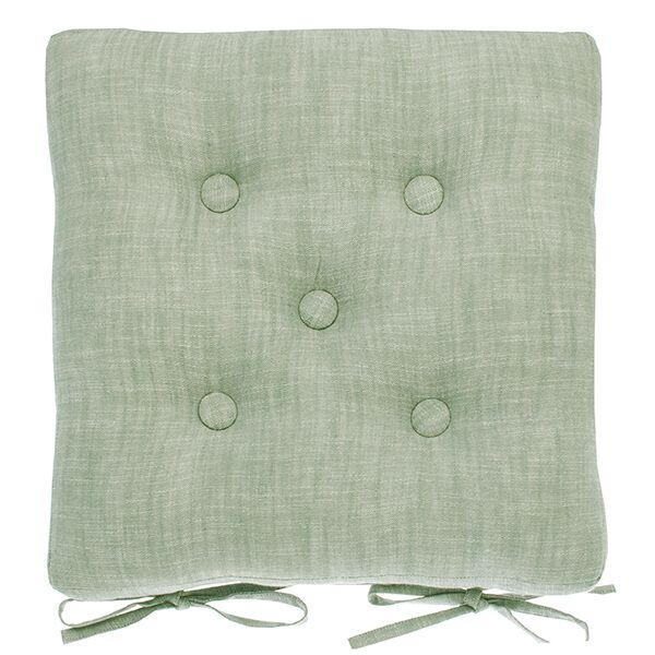 Walton & Co Moss Chambray Seat Pad with Ties