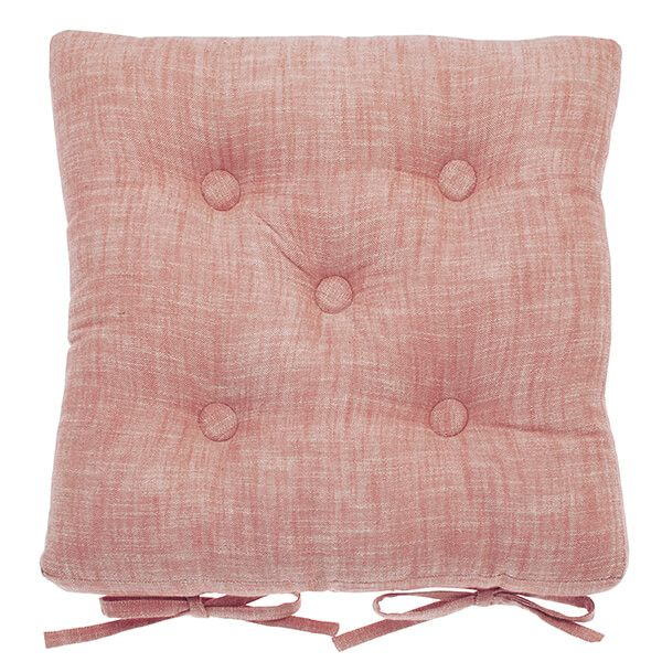Walton & Co Terracotta Blush Chambray Seat Pad with Ties