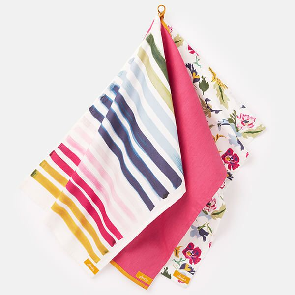 Joules Floral And Striped Tea Towels Set Of 3