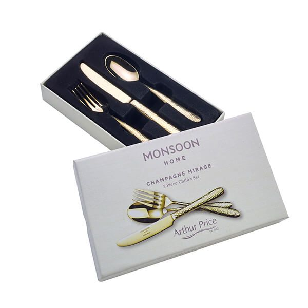 Arthur Price Monsoon Champagne Mirage 3 Piece Child Cutlery Set