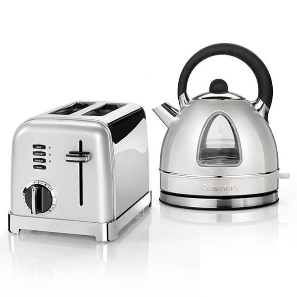 Cuisinart Style Frosted Pearl Traditional Kettle & 2 Slice Toaster Breakfast Set
