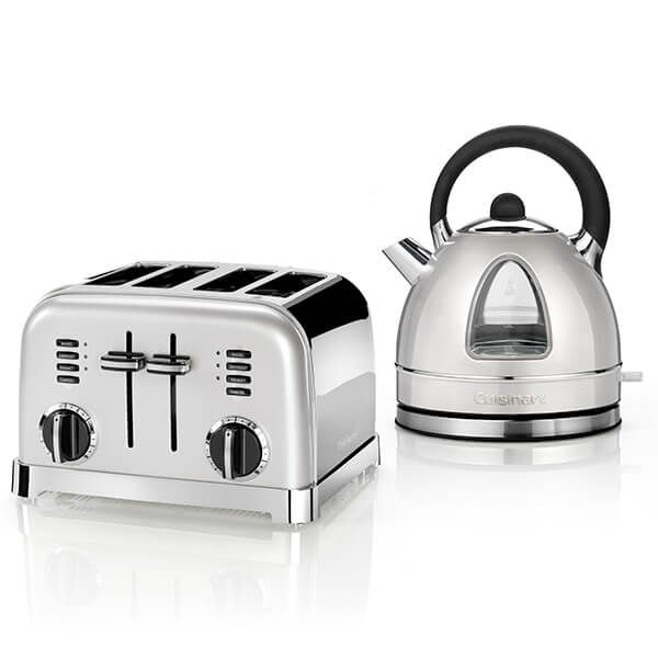 Cuisinart Style Frosted Pearl Traditional Kettle & 4 Slice Toaster Breakfast Set
