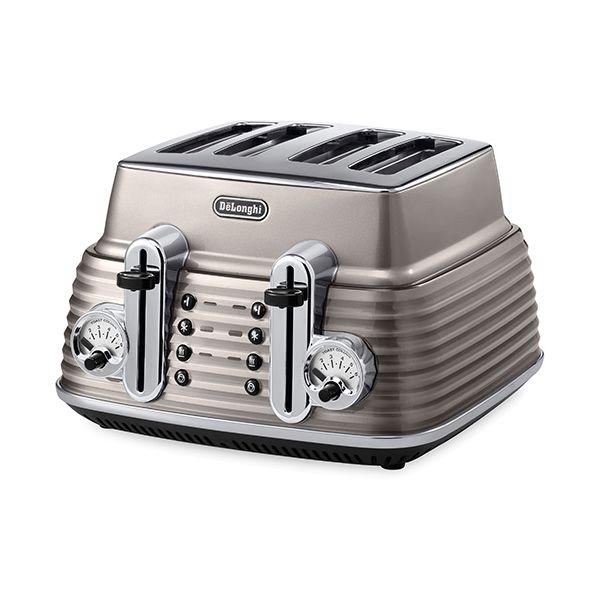 Delonghi Scultura 4 Slot Toaster Champagne
