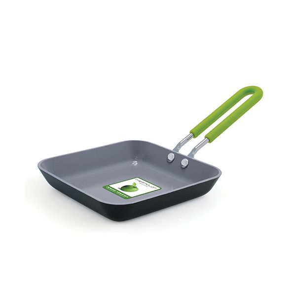 Greenpan Ceramic Non-Stick Egg Expert 12.5cm Square Open Frypan Silicone Handle