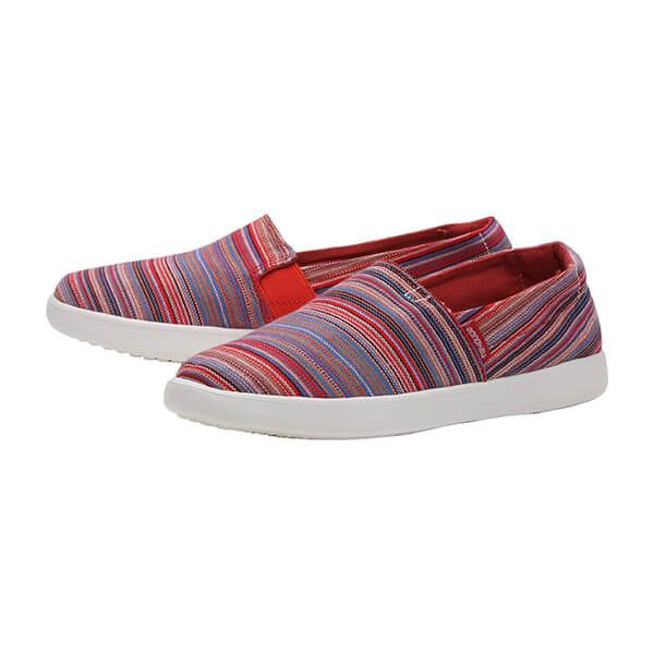 Dude Shoes Carly Ibiza Stripe Red Textile Size