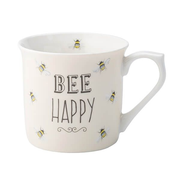 English Tableware Company Bee Happy Cream Fine China Mug
