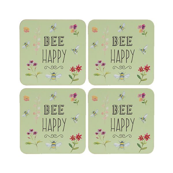 English Tableware Company Bee Happy Set of 4 Coasters