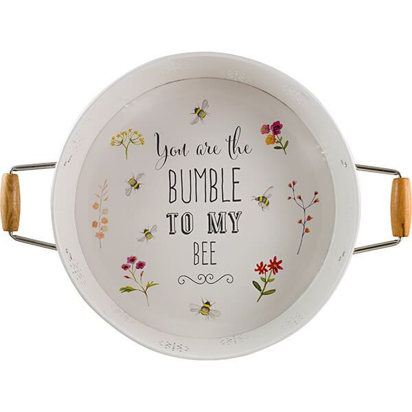 English Tableware Company Bee Happy Painted Steel Round Serving Tray with Handles