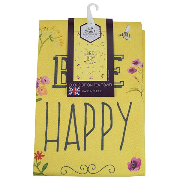 English Tableware Company Bee Happy Yellow Tea Towel