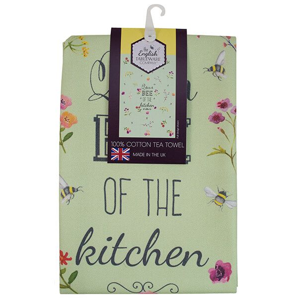 English Tableware Company Bee Happy 'Queen Bee of the Kitchen' Green Tea Towel