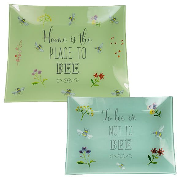 English Tableware Company Bee Happy Rectangle Glass Dish Set of 2