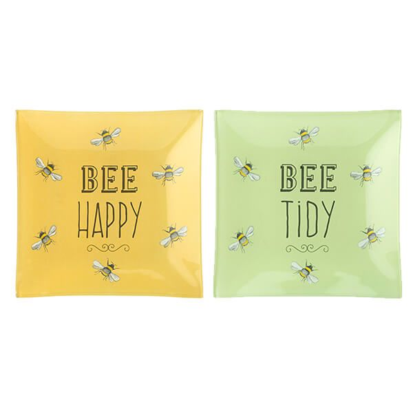 English Tableware Company Bee Happy Square Glass Dish Set of 2