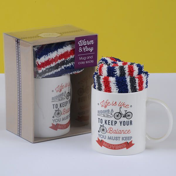 English Tableware Company Life Is Like Riding A Bike Mug & Sock Set