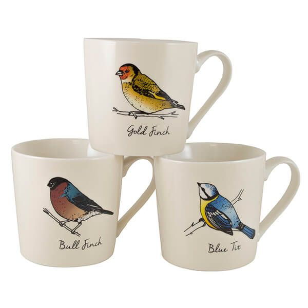 English Tableware Company British Birds Cream Mugs Set Of 3