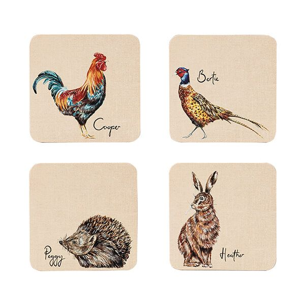 English Tableware Company Edale Square Coaster Set 4 Assorted Designs