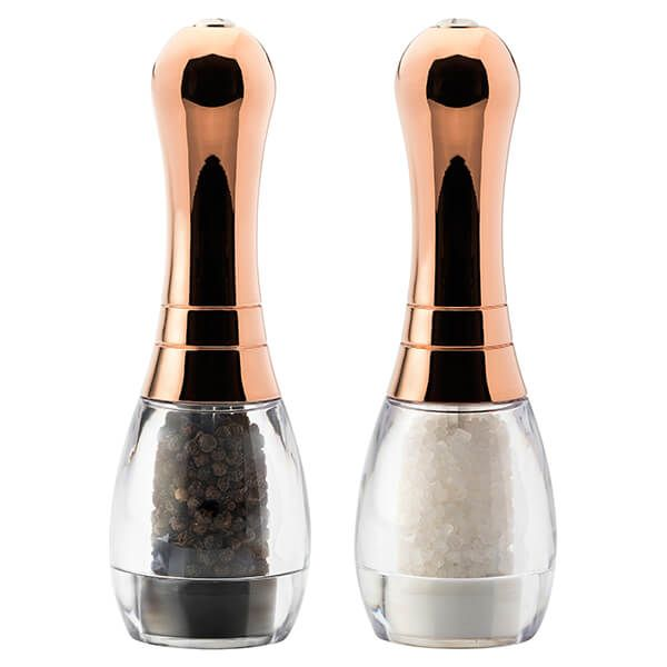 English Tableware Company Skittle Acrylic/Copper Top Filled Salt & Pepper Mill Set