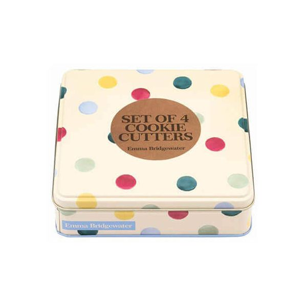 Emma Bridgewater Polka Dot Cookie Cutters in a Tin