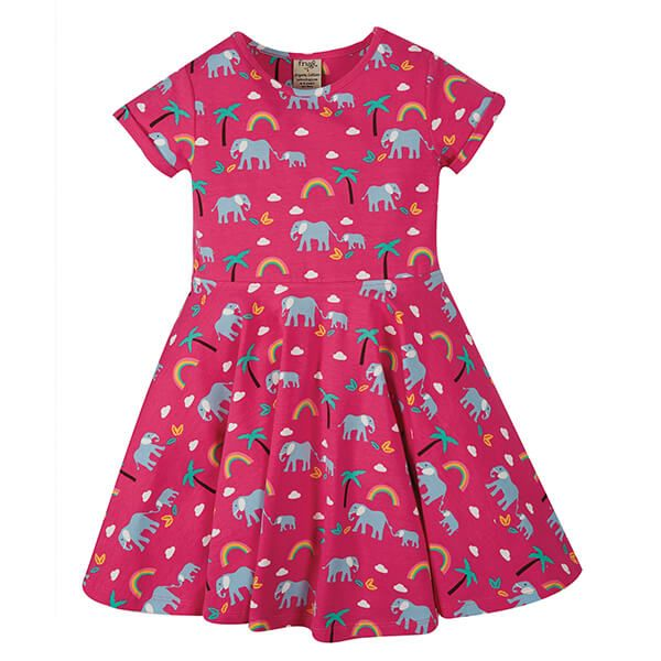 Frugi Organic Deep Pink Rainbow Walks Spring Skater Dress