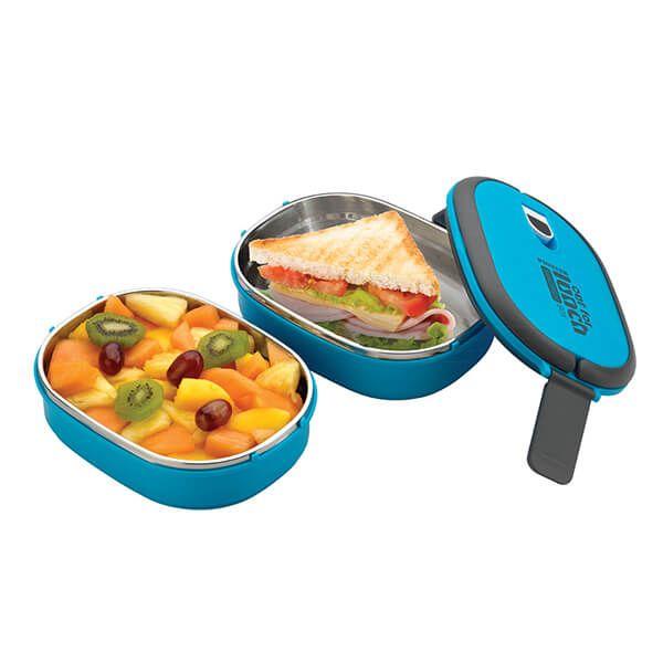 Pioneer Double Decker Rectangular Lunch Box Set Blue