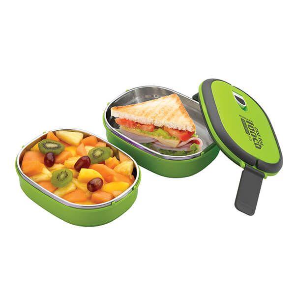 Pioneer Double Decker Rectangular Lunch Box Set Green