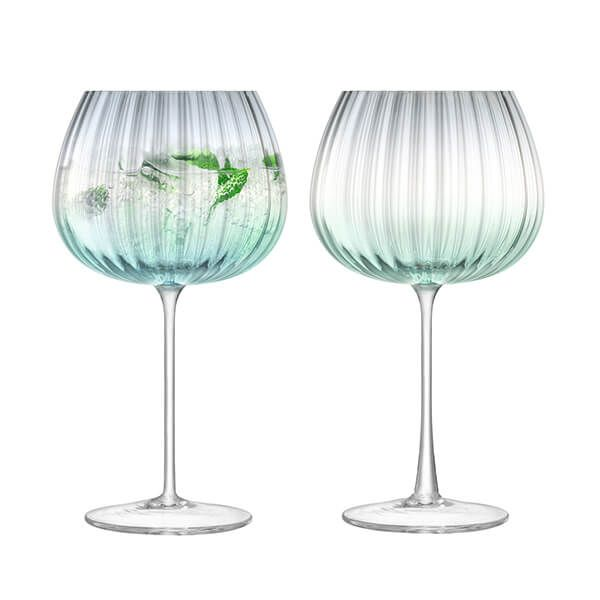LSA Dusk Balloon Goblet 650ml Green & Grey Set Of Two