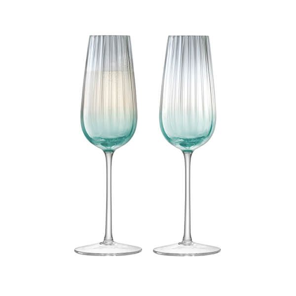 LSA Dusk Champagne Flute 250ml Green & Grey Set Of Two