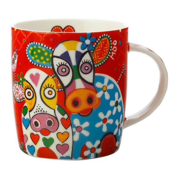 Maxwell & Williams Love Hearts Happy Moo Day 370ml Ceramic Mug Gift Boxed