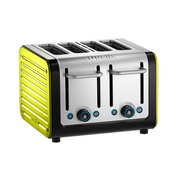 Dualit Architect 4 Slot Black Body With Citrus Yellow Panel Toaster