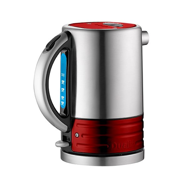Dualit Architect Brushed Stainless Steel and Apple Candy Red Kettle