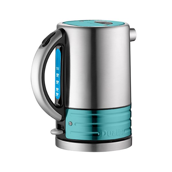Dualit Architect Brushed Stainless Steel and Azure Blue Kettle