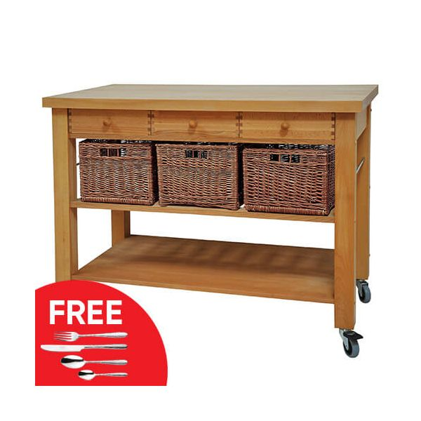 Eddingtons Lambourn Three Drawer Kitchen Trolley with FREE Gift